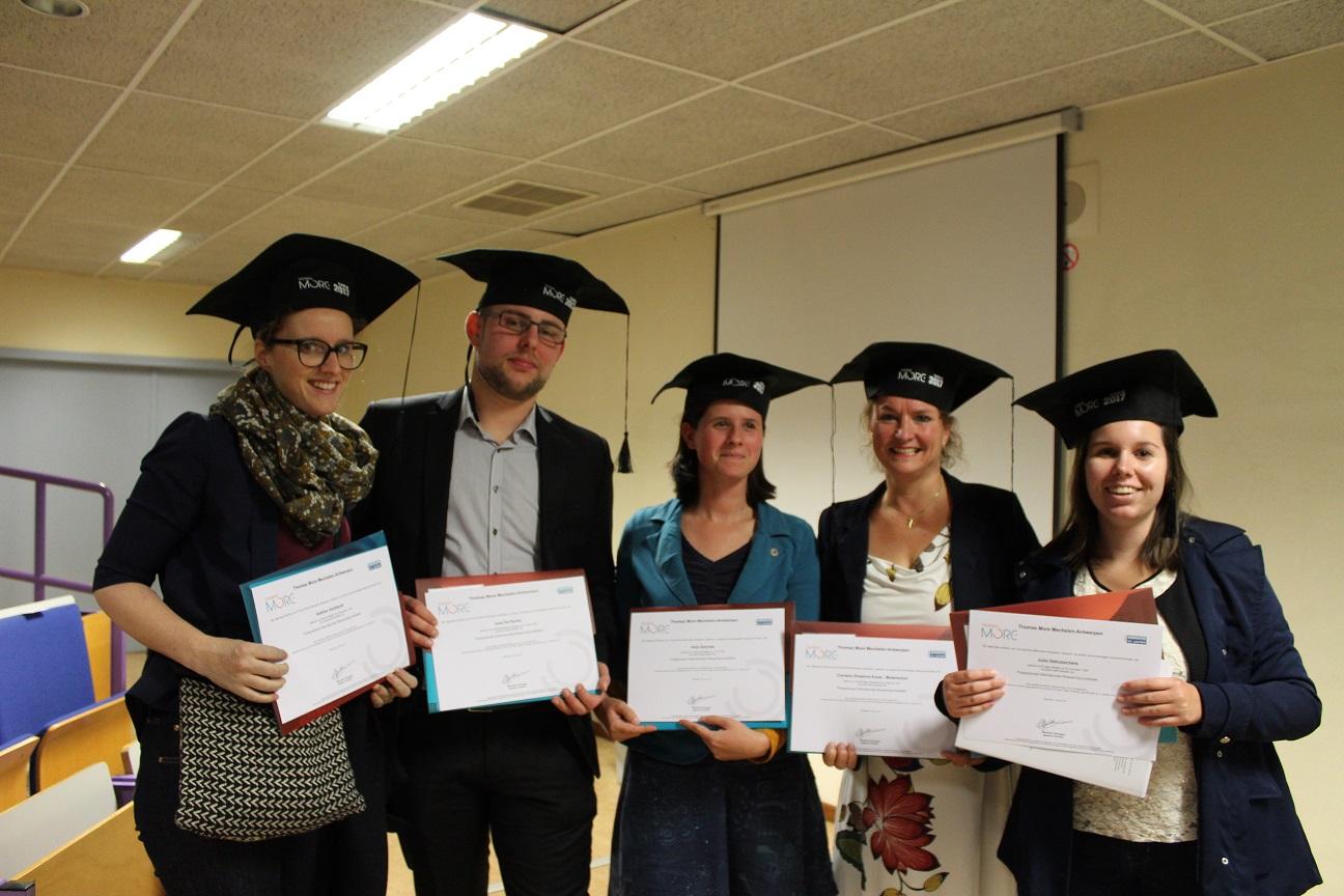 Afronding onderzoeksjournalistiek IRJ Thomas More Hogeschool Mechelen; Claudia Koole - 2e van links